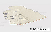 Shaded Relief Panoramic Map of As Suwayda, cropped outside