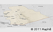 Shaded Relief Panoramic Map of As Suwayda, desaturated