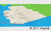 Shaded Relief Panoramic Map of As Suwayda, political outside