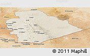 Shaded Relief Panoramic Map of As Suwayda, satellite outside