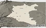 Shaded Relief Panoramic Map of Dara, darken