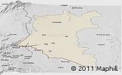 Shaded Relief Panoramic Map of Dara, desaturated