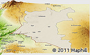 Shaded Relief Panoramic Map of Dara, physical outside