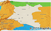 Shaded Relief Panoramic Map of Dara, political outside