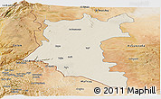 Shaded Relief Panoramic Map of Dara, satellite outside