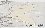 Shaded Relief Panoramic Map of Dara, semi-desaturated
