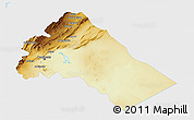 Physical 3D Map of Dimashq, single color outside