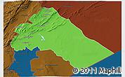 Political 3D Map of Dimashq, darken