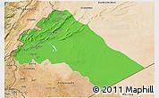 Political 3D Map of Dimashq, satellite outside