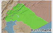 Political 3D Map of Dimashq, semi-desaturated