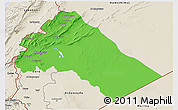 Political 3D Map of Dimashq, shaded relief outside
