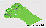 Political 3D Map of Dimashq, single color outside
