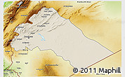 Shaded Relief 3D Map of Dimashq, physical outside