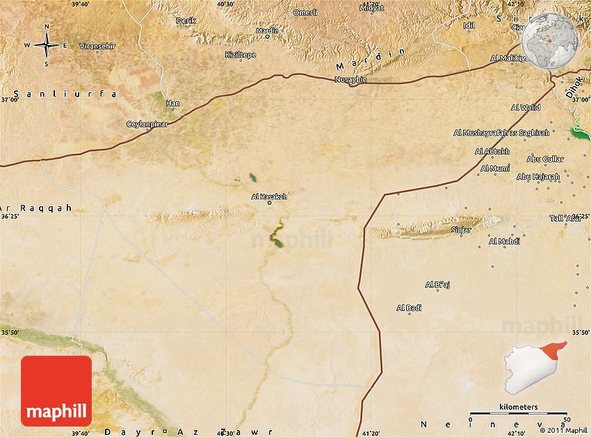 Syria Map And Satellite Image: Satellite Map Of Hasaka (Al Haksa