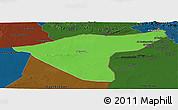 Political Panoramic Map of Hasaka (Al Haksa), darken