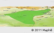 Political Panoramic Map of Hasaka (Al Haksa), physical outside