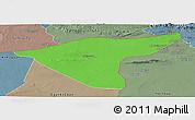 Political Panoramic Map of Hasaka (Al Haksa), semi-desaturated
