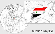 Flag Location Map of Syria, blank outside