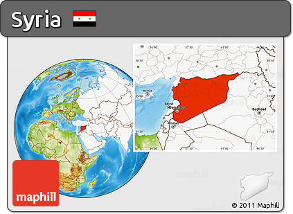 Free Physical Location Map Of Syria Highlighted Continent - What continent is syria in