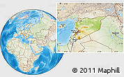 Physical Location Map of Syria, lighten, land only
