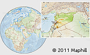 Physical Location Map of Syria, lighten