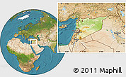 Physical Location Map of Syria, satellite outside