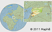 Physical Location Map of Syria, savanna style outside, hill shading
