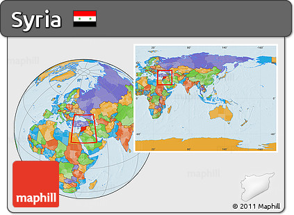 Free Political Location Map Of Syria Within The Entire Continent - What continent is syria in