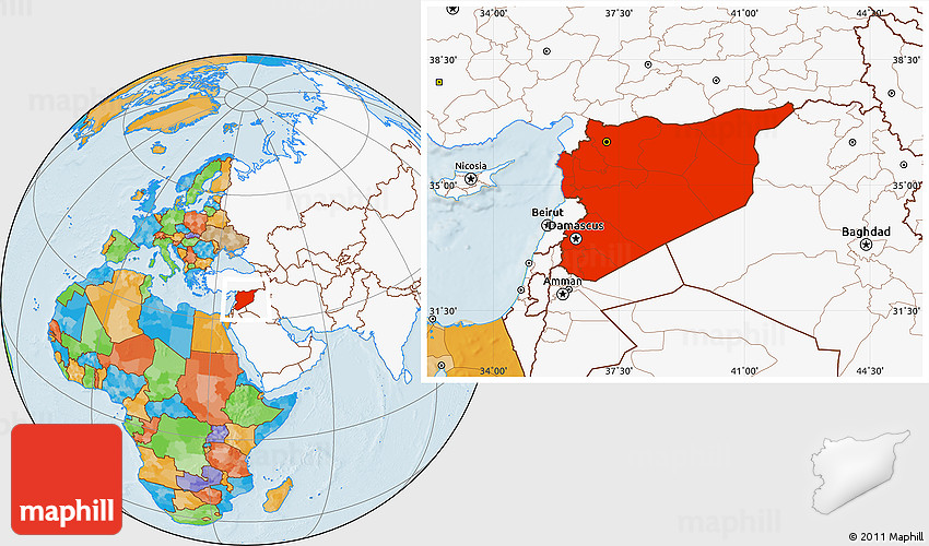 Political location map of syria highlighted continent 2d gumiabroncs Images
