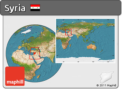 Free Satellite Location Map Of Syria Within The Entire Continent - What continent is syria in