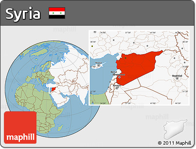 Free Savanna Style Location Map of Syria highlighted continent