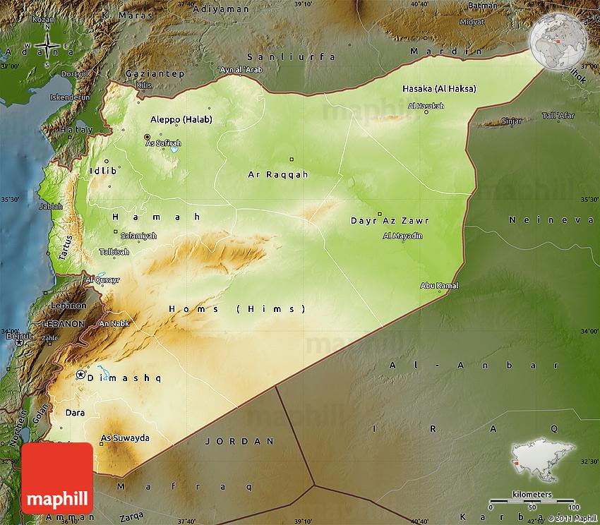 Physical Map of Syria darken