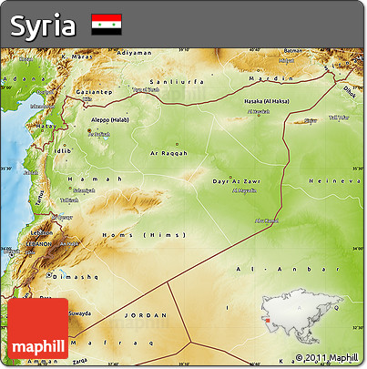 Free Physical Map of Syria