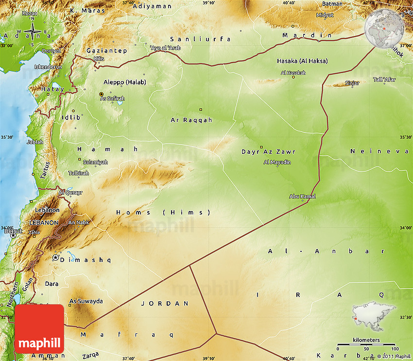 Physical Map Of Syria - Map of syria