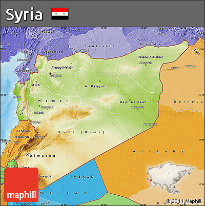 Free Physical Map of Syria political shades outside shaded relief sea