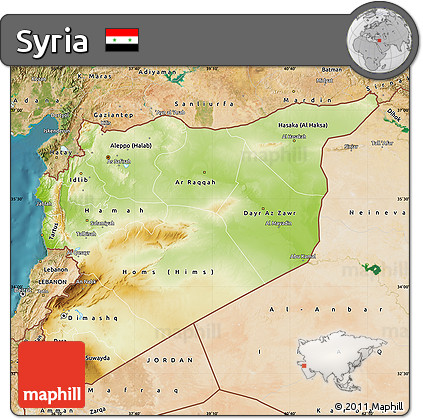 Free Physical Map of Syria satellite outside