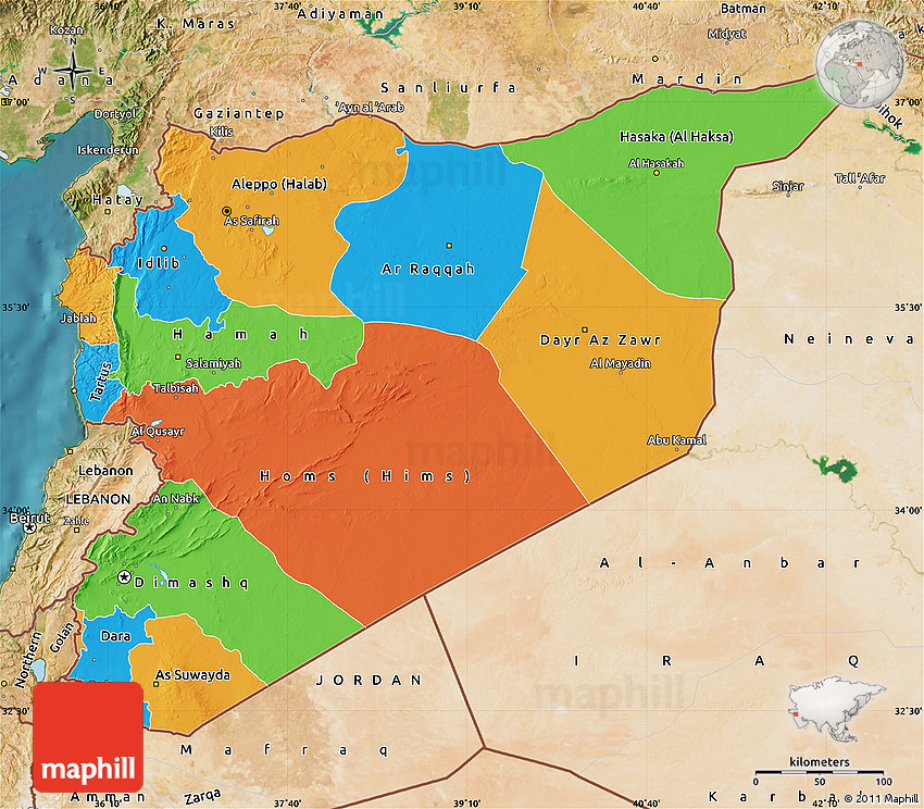 Political Map of Syria satellite outside