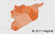 Political Shades Map of Syria, cropped outside
