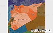 Political Shades Map of Syria, darken