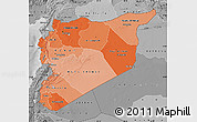 Political Shades Map of Syria, desaturated