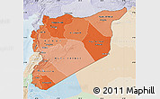 Political Shades Map of Syria, lighten