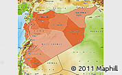 Political Shades Map of Syria, physical outside