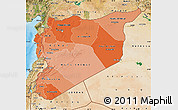 Political Shades Map of Syria, satellite outside, bathymetry sea