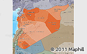 Political Shades Map of Syria, semi-desaturated, land only