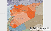 Political Shades Map of Syria, semi-desaturated