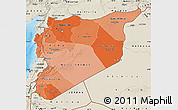 Political Shades Map of Syria, shaded relief outside, bathymetry sea