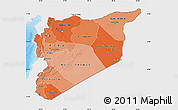Political Shades Map of Syria, single color outside