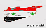 Flag Panoramic Map of Syria