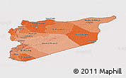 Political Shades Panoramic Map of Syria, cropped outside