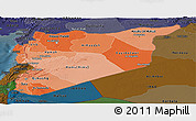 Political Shades Panoramic Map of Syria, darken